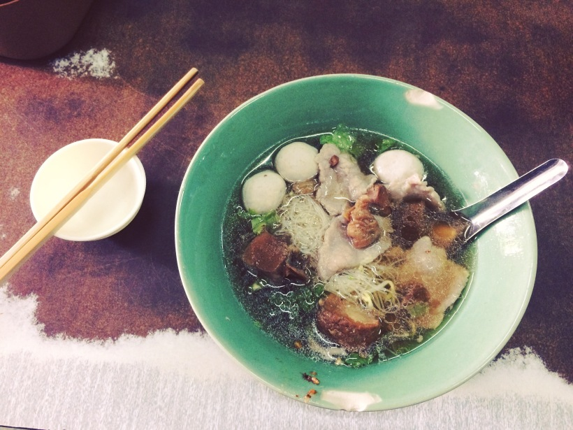 Beef soup with rice noodles and dumplings