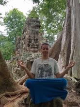 Meditation pose at the meditation rock